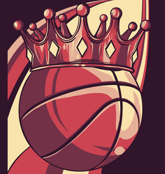 basket ball king crown design vector image