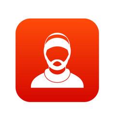 bearded man avatar icon digital red vector image