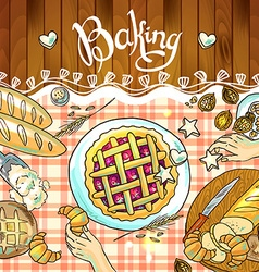 Beautiful hand-draw baking on the checkered vector