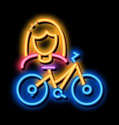 Bike for women neon glow icon vector