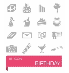 Birthday icon set vector image