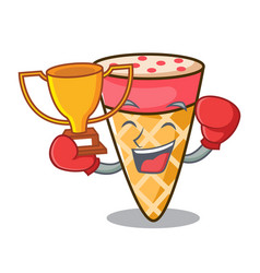 boxing winner ice cream tone mascot cartoon vector image