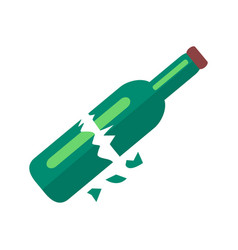 Broken bottle of beer isolated vector
