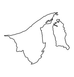 Brunei map of black contour curves of vector
