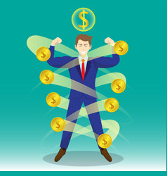 Businessman surrounded by coins vector