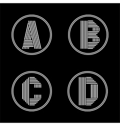 capital letters a b c d from white stripe vector image