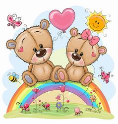 Cartoon bears are sitting on rainbow vector