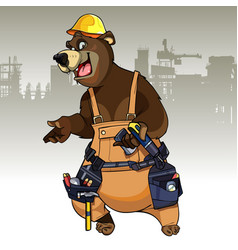 Cartoon character bear dressed in the working vector