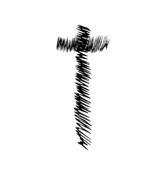 Christian cross grunge religion symbol vector image