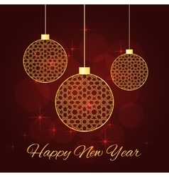 christmas balls red background vector image vector image