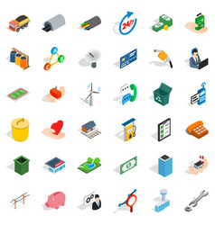 Commercial coop icons set isometric style vector