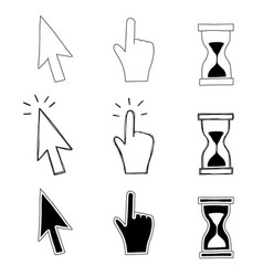 cursor hand and hourglass vector image