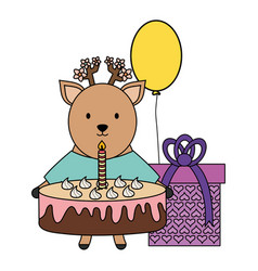 cute reindeer with sweet cake and gift in party vector image