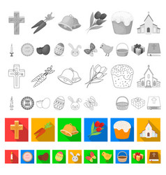 easter is a christian holiday flat icons in set vector image
