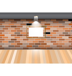 Empty room blank frame brick wall vector
