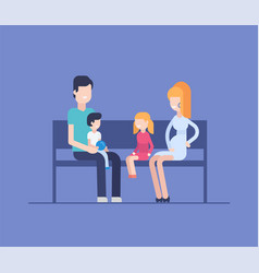 family sitting on a bench - modern flat design vector image