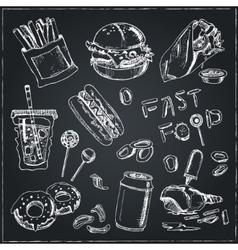 Fast Food Set Sketches Vintage for vector image