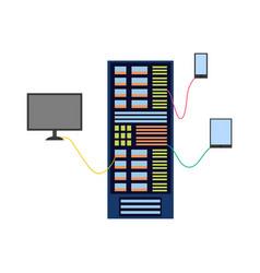 flat server rack at data center vector image