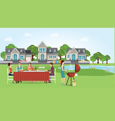 group of people enjoying party barbecue picnic vector image
