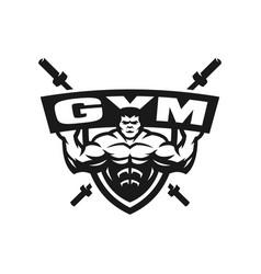 Gym monochrome logo emblem vector