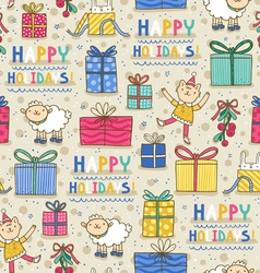 Happy holidays fun seamless pattern on light vector image