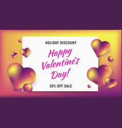happy valentines day horizontal background vector image