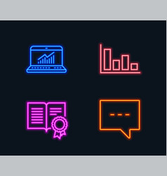 Histogram diploma and online statistics icons vector