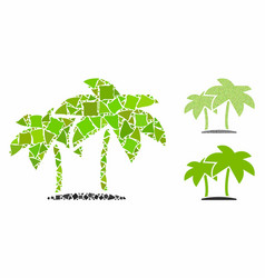 island palms mosaic icon raggy parts vector image