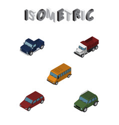 Isometric automobile set of freight suv autobus vector