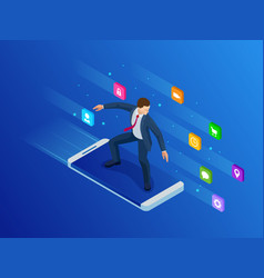isometric mobile phone and businessman virtual vector image