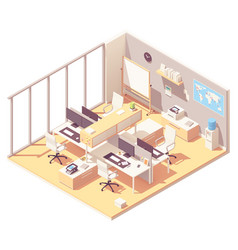 Isometric office with cubicle vector