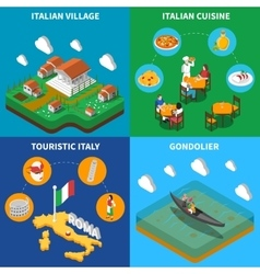 Italy Travel 4 Isometric Icons Square vector