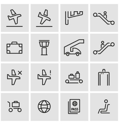 line airport icon set vector image