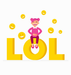 lol icon as a laugh out loud sign yellow symbol vector image