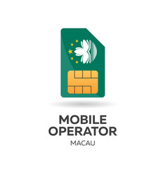 Macau mobile operator sim card with flag vector