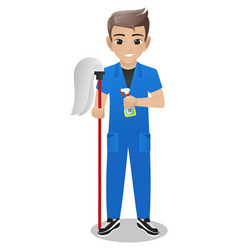 male office boy holding mop and spray vector image