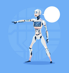 modern robot show chat bubble message point finger vector image
