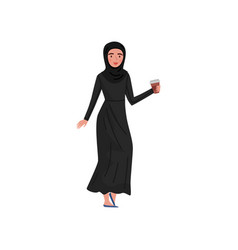 muslim business woman walking with coffee cup in vector image