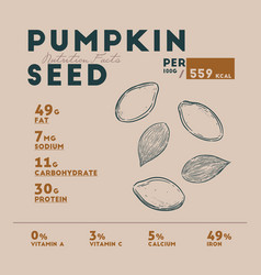 nutrition facts of pumpkin seed hand draw vector image