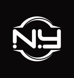 Ny logo monogram with circle rounded slice shape vector