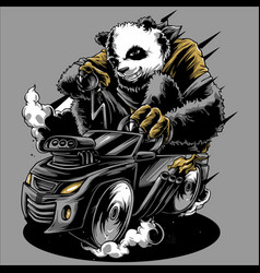 Panda ride car hand drawing vector