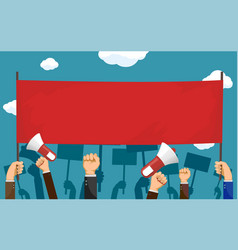 people hold red blank banner with copy-space vector image