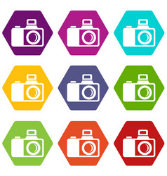 Photocamera icons set 9 vector