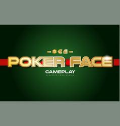 poker face word text logo banner postcard design vector image