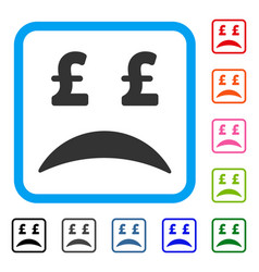 pound bankrupt sad emotion framed icon vector image