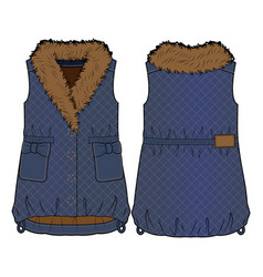 Quilted denim vest with fur collar vector