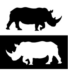 rhino black and white silhouettes vector image