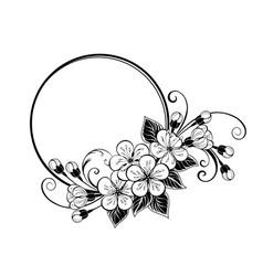 round frame with contour sakura flowers vector image