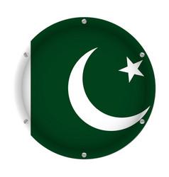 Round metallic flag of pakistan with screws vector