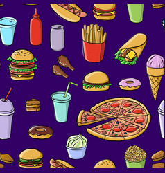 Seamless pattern with drawing fastfood vector
